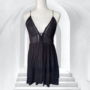 Intimately Free People Black Lace Up Back Slip Dress